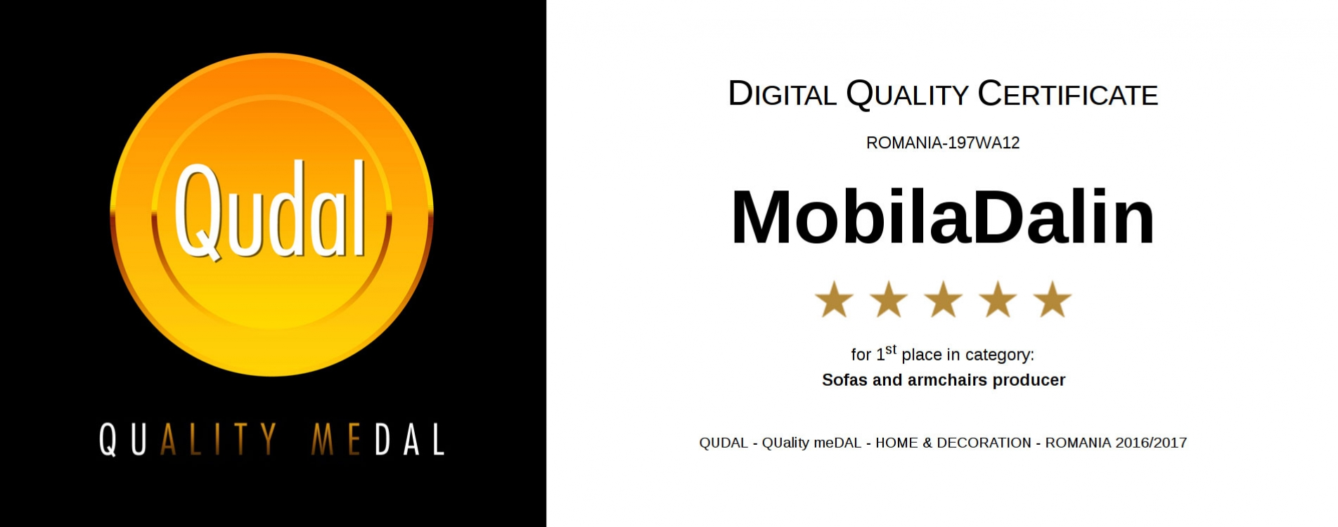 DIGITAL QUALITY CERTIFICATE